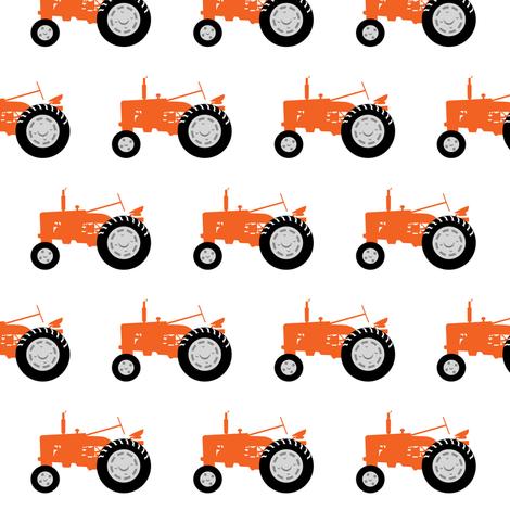 tractors - tractor orange fabric by littlearrowdesign on Spoonflower - custom fabric