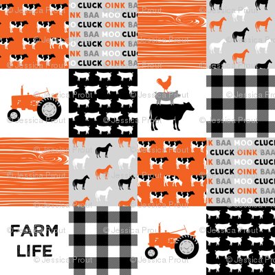farm life wholecloth - patchwork farming fabric - tractor orange and black