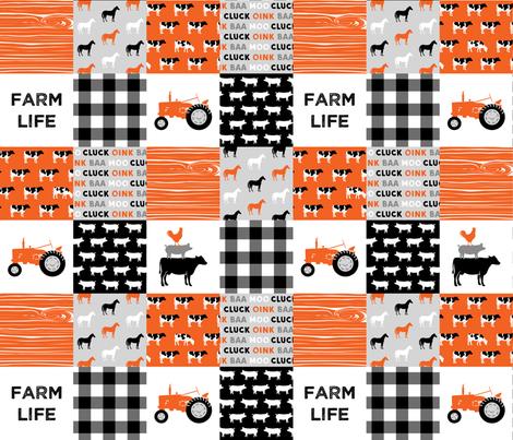 farm life wholecloth - patchwork farming fabric - tractor orange and black  fabric by littlearrowdesign on Spoonflower - custom fabric