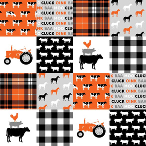 farm wholecloth - farm fabric - patchwork fabric - tractor orange and black