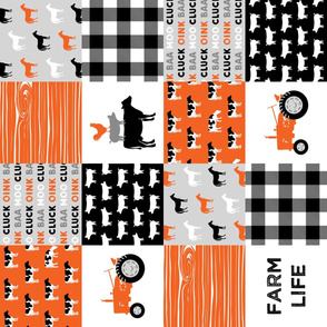 farm life wholecloth - patchwork farming fabric - tractor orange and black (90)