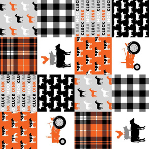 farm wholecloth - farm fabric - patchwork fabric - tractor orange and black (90)