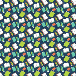 Book Pattern in Blue, Green, and Coral on Navy