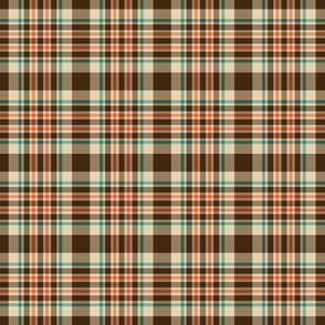 Brown, Teal, and Orange Plaid