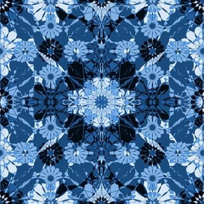 flowery diamonds in blue
