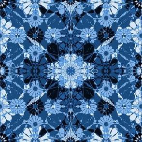 flowery diamonds in blue