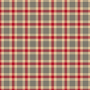 Red and Blue Plaid on Tan