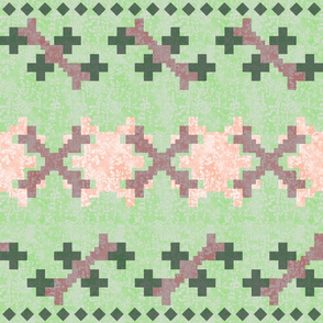 large pink and purple ikat stripes on green