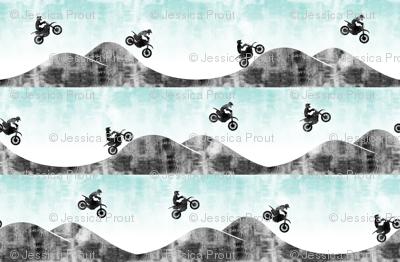 (micro scale) motocross/ dirt bike || blue & grey