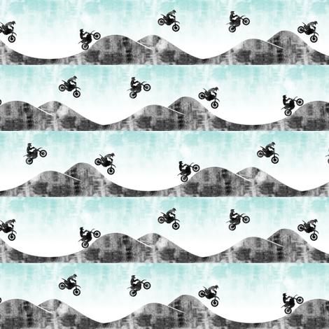 (micro scale) motocross/ dirt bike || blue & grey fabric by littlearrowdesign on Spoonflower - custom fabric