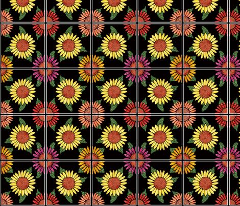 sunflower tiles 4x4 fabric by leroyj on Spoonflower - custom fabric