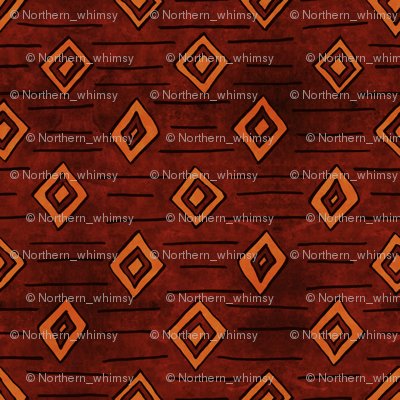 African Diamond Geometric in Earth Tones