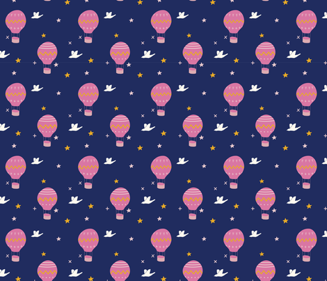 hot-air-balloons_navy fabric by brave_snail_designs on Spoonflower - custom fabric