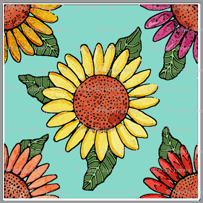 sunflowers tiles blue 4x4