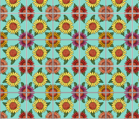 sunflowers tiles blue 4x4 fabric by leroyj on Spoonflower - custom fabric