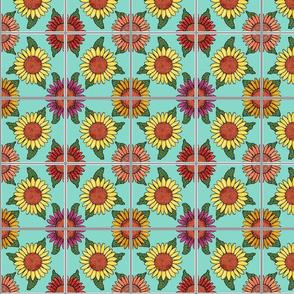 sunflowers tiles blue 4x4