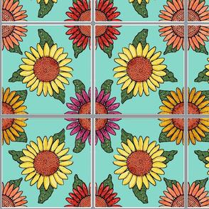 sunflowers tiles blue 6x6