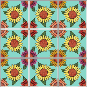 sunflowers tiles blue 6x6