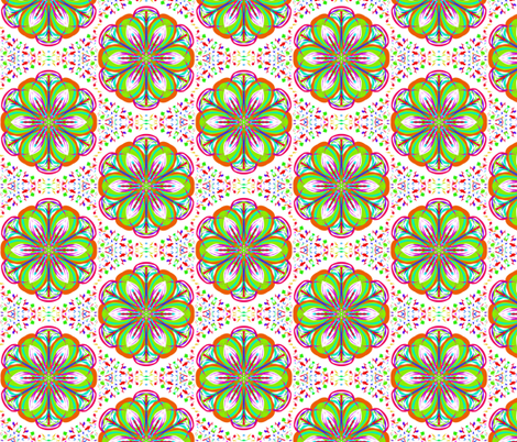Greening the Daisies in Speckled Diamonds fabric by rhondadesigns on Spoonflower - custom fabric