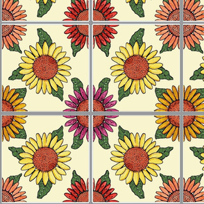sunflowers tiles ivory 8x8