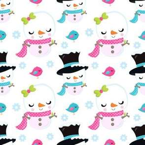 Snowman Cuties Top Hats and Bows