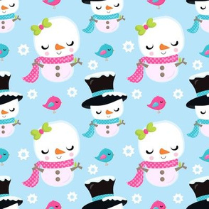 Snowman Cuties Top Hats and Bows Blue