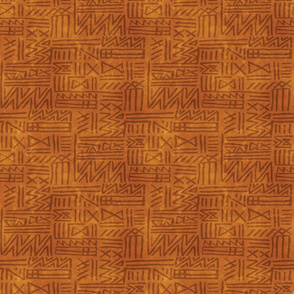 African Tribal Geometric in Earth Tones - gold