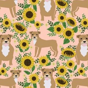pitbull sunflowers floral dog breed fabric pitty lover pink