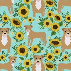 pitbull sunflowers floral dog breed fabric pitty lover green