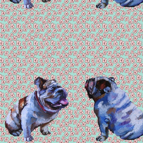English Bulldogs, Cut and Sew, Two boys flowers