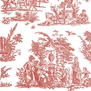 Marseilles Toile ~  Turkey Red on White