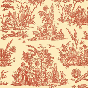 Marseilles Toile ~   Turkey Red on Trianon Cream