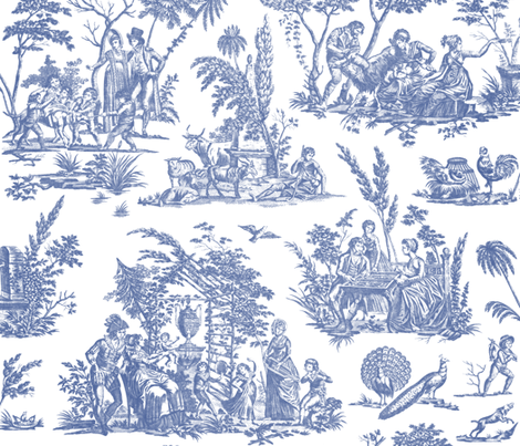 Marseilles Toile ~   Willow Ware Blue and White    fabric by peacoquettedesigns on Spoonflower - custom fabric