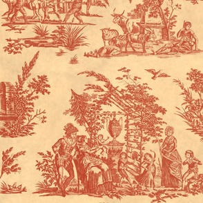 Marseilles Toile ~  Turkey Red on Parchment