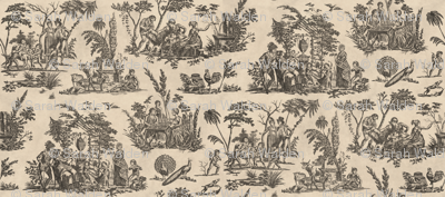 Marseilles Toile ~  Black  on Pale Parchment