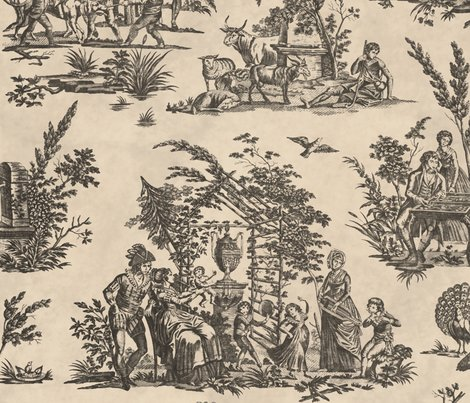 Marseilles-toile-black-on-pale-parchment-peaocquette-designs-copyright-2018_shop_preview