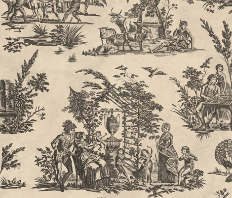 Marseilles Toile ~  Black  on Pale Parchment   fabric by peacoquettedesigns on Spoonflower - custom fabric
