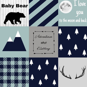 Baby bear - mint and navy - snow peaks