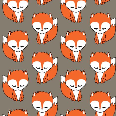 little fox - brown fabric by littlearrowdesign on Spoonflower - custom fabric
