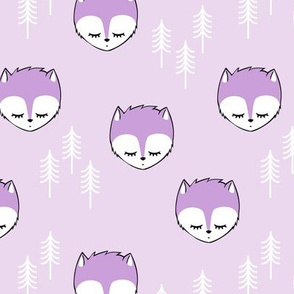 sleepy fox - purple on purple
