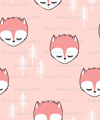 sleepy fox - pink on pink