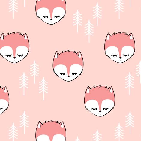 sleepy fox - pink on pink fabric by littlearrowdesign on Spoonflower - custom fabric