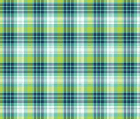 Aqua, Navy, and Lime Plaid fabric by northern_whimsy on Spoonflower - custom fabric