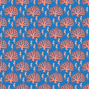 Seahorses and Coral in Pink on Blue