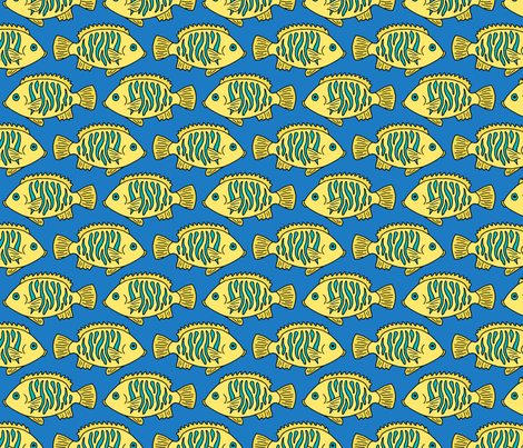 Tropical Fish in Yellow and Blue fabric by northern_whimsy on Spoonflower - custom fabric