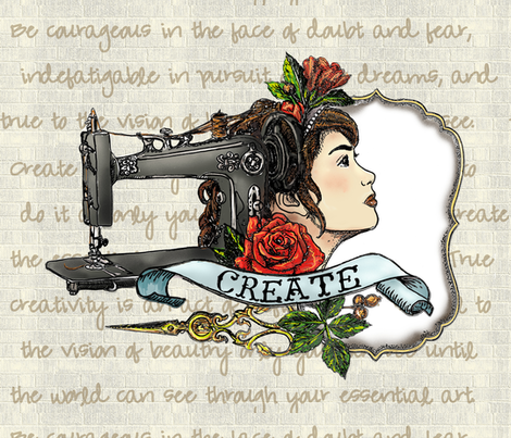 Sew Create Tattoo Inspired Text fabric by aspenartsstudio on Spoonflower - custom fabric