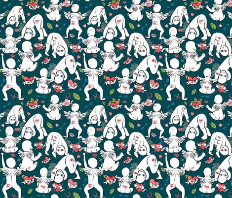Cheeky Tattooed Cherubs teal fabric by colour_angel_by_kv on Spoonflower - custom fabric