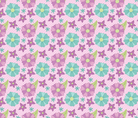 Purple and Blue Floral Pattern fabric by northern_whimsy on Spoonflower - custom fabric