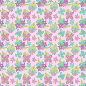 Spring Floral - purple, green and blue