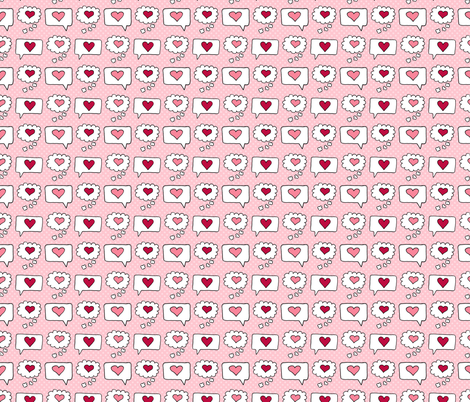 Valentines Speech Bubbles with Hearts fabric by northern_whimsy on Spoonflower - custom fabric